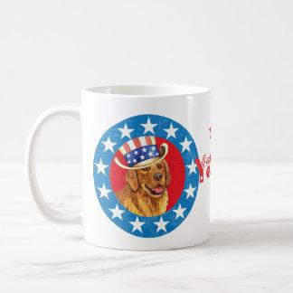 Patriotic Golden Retriever Coffee Mug
