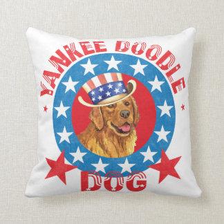 Patriotic Golden Retriever Cushion