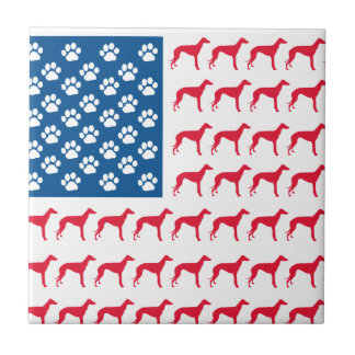 Patriotic Greyhound Dog Small Square Tile