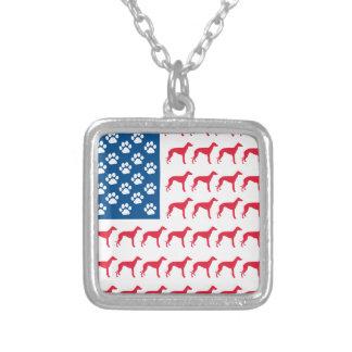 Patriotic Greyhound Dog Square Pendant Necklace