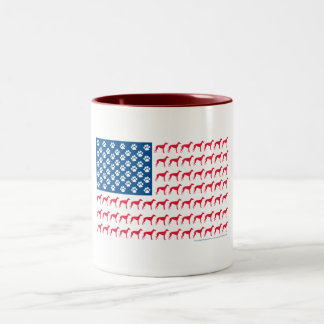 Patriotic Greyhound Dog Two-Tone Mug