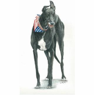 Patriotic Greyhound Dpog Art KeyChain Photo Sculpture Key Ring