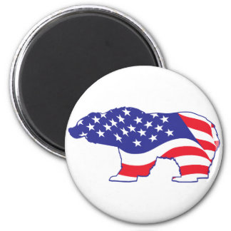 Patriotic-Grizzly 6 Cm Round Magnet