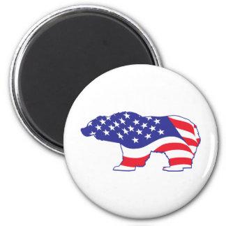 Patriotic-Grizzly 6 Cm Round Magnet