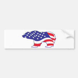 Patriotic Grizzly Bear Car Bumper Sticker