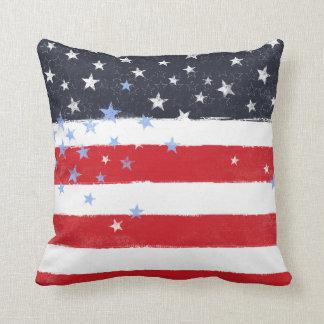 Patriotic Grunge Stars and Stripes Cushion
