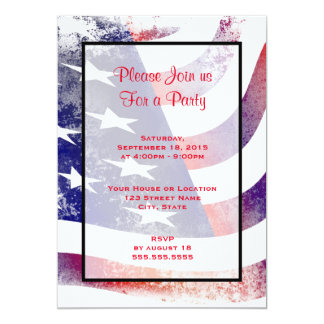 Patriotic Grunge Style Faded American Flag 13 Cm X 18 Cm Invitation Card