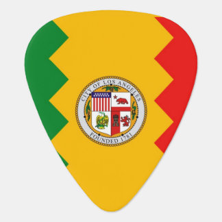 Patriotic guitar pick with Flag of Los Angeles