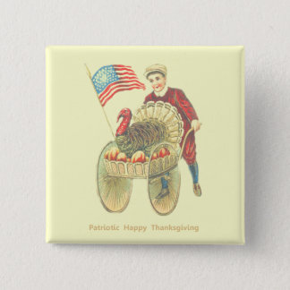 Patriotic Happy Thanksgiving 15 Cm Square Badge