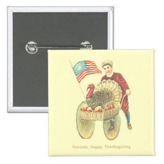 Patriotic Happy Thanksgiving 15 Cm Square Badge