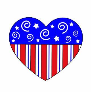 Patriotic Heart Christmas Ornament Cut Out