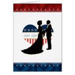 Patriotic Heart Love Couple Kissing Blank Card