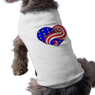 Patriotic Heart Sleeveless Dog Shirt