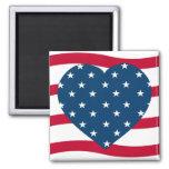 patriotic heart square magnet