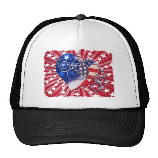 PATRIOTIC HEART STARBURST 4TH OF JULY TRUCKER HATS