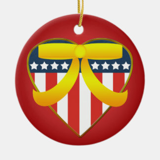 Patriotic Heart  Yellow Ribbon Round Ornament