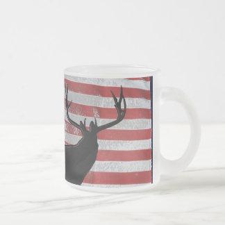 Patriotic hunter frosted glass mug