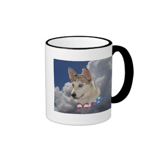 Patriotic Husky Dog Fluffy White Clouds Mugs