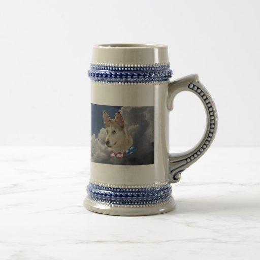 Patriotic Husky Dog Fluffy White Clouds Mug