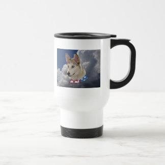 Patriotic Husky Dog Fluffy White Clouds Stainless Steel Travel Mug