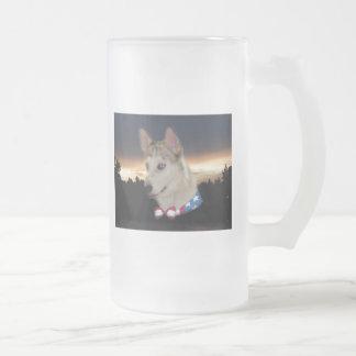 Patriotic Husky Dog Sunset Frosted Glass Mug