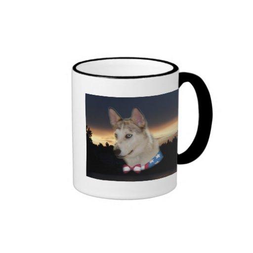 Patriotic Husky Dog Sunset Coffee Mugs