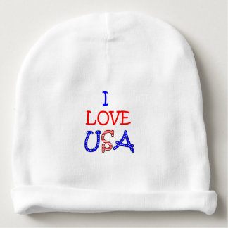 Patriotic I Love USA Baby Beanie