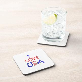 Patriotic I Love USA Drink Coaster