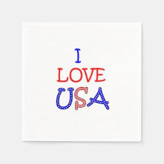 Patriotic I Love USA Paper Serviettes