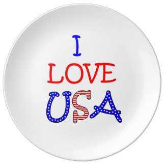 Patriotic I Love USA Plate