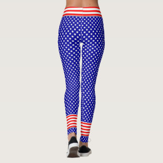 Patriotic in Red, White and Blue Stars and Stripes Leggings