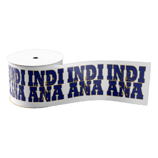 Patriotic Indiana state flag typography design Grosgrain Ribbon