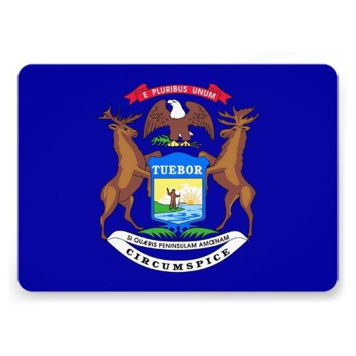 Patriotic invitations with Flag of Michigan
