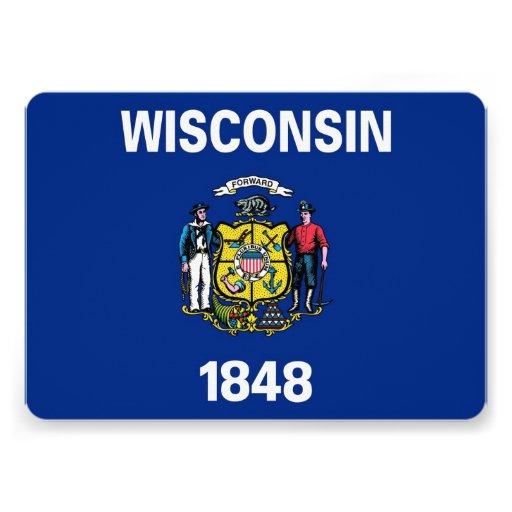 Patriotic invitations with Wisconsin Flag