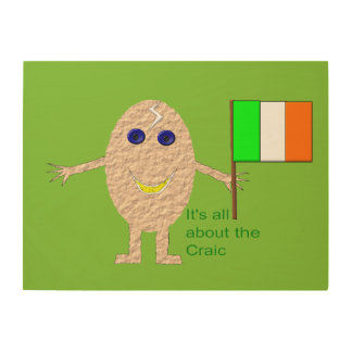 Patriotic Irish Egg Wood Canvas