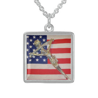 Patriotic John Paul II Crucifix Necklace