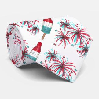Patriotic July 4th Fourth Rocket Pop Fireworks Tie