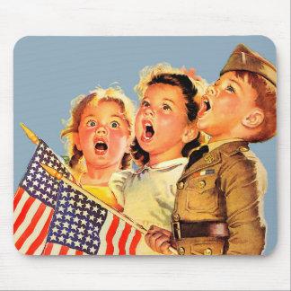 Patriotic Kids 1940s Vintage Illustration Mousepad