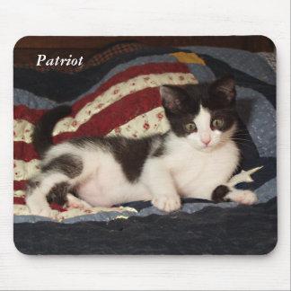 Patriotic Kitten on Quilt Mousepad Cat