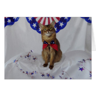 Patriotic Kitty for Fourth of July Card