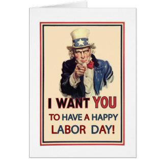 Patriotic Labor Day, Vintage Uncle Sam Greeting Card