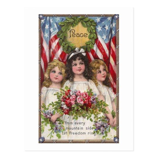 Patriotic Liberty Girls Postcard