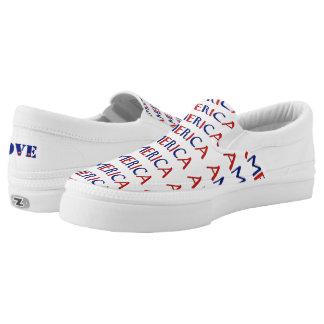 Patriotic Love America Red White Blue Zizzago Printed Shoes