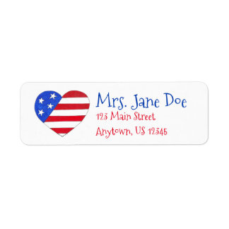 Patriotic Love USA American Flag Heart Print Label