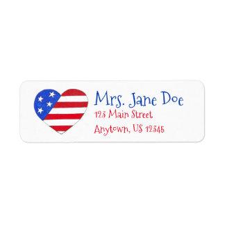 Patriotic Love USA American Flag Heart Print Label Return Address Label