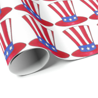 Patriotic Love USA American Flag Uncle Sam Top Hat Wrapping Paper