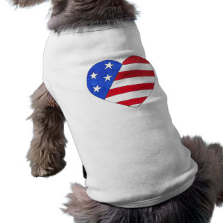Patriotic Love USA July 4th American Flag Heart Sleeveless Dog Shirt
