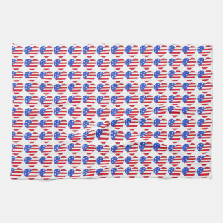 Patriotic Love USA July 4th Stars and Stripes Flag Hand Towels