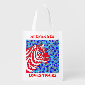 Patriotic Loves Tiger Red White Blue Personalized Market Totes