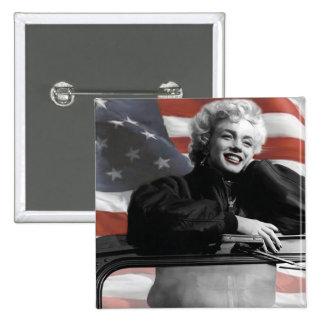 Patriotic Marilyn 15 Cm Square Badge